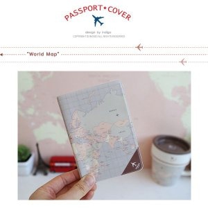 パスポートカバー 世界地図 イラスト|niyantarose