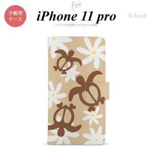 iPhone11pro 手帳型スマホケース カバー ホヌ ティアレ ベージュ nk-004s-i11p-dr1081|nk115