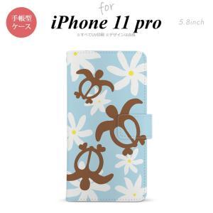 iPhone11pro 手帳型スマホケース カバー ホヌ ティアレ 水色 nk-004s-i11p-dr1082|nk115