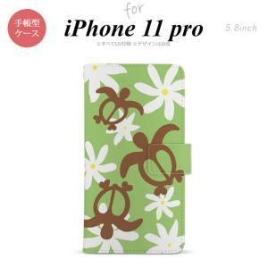 iPhone11pro 手帳型スマホケース カバー ホヌ ティアレ 緑 nk-004s-i11p-dr1083|nk115