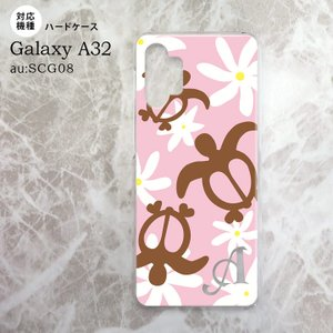 SCG08 Galaxy A32 ケース ハードケース ホヌ ティアレ ピンク +アルファベット nk-a32-1080i|nk115