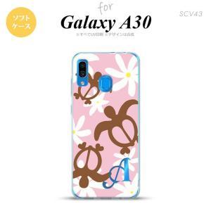 SCV43 Galaxy A30 スマホケース カバー ホヌ ティアレ ピンク +アルファベット nk-scv43-tp1080i|nk115