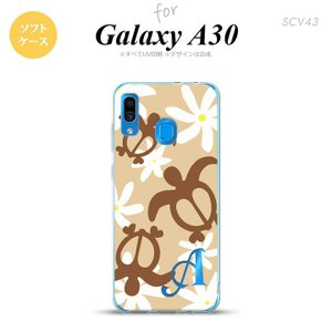 SCV43 Galaxy A30 スマホケース カバー ホヌ ティアレ ベージュ +アルファベット nk-scv43-tp1081i|nk115