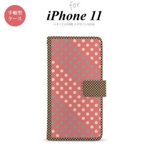 iPhone11 手帳型スマホケース カバー ドット 水玉 赤 ミント nk-004s-i11-dr1644|nk117