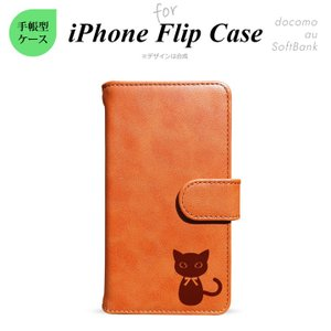 iPhone 対応 手帳型スマホケース iPhoneX iPhone8 iPhone7 6s SE 5s 他 アイフォン 主要機種対応 猫(首輪リボン) キャメル nk-018-ip-p220|nk117