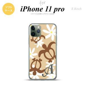 iPhone11pro ケース ソフトケース ホヌ ティアレ ベージュ +アルファベット nk-i11p-tp1081i|nk117