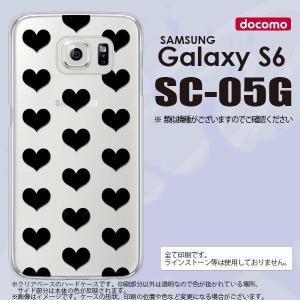 SC05G スマホケース Galaxy S6 SC-05G カバー ギャラクシー S6 ハート 黒 nk-sc05g-015|nk117