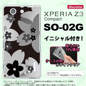 SO02G スマホケース XPERIA Z3 Compact カバー エクスペリア Z3 コンパクト ソフトケース イニシャル 花柄・サクラ 黒 nk-so02g-tp061ini nk117