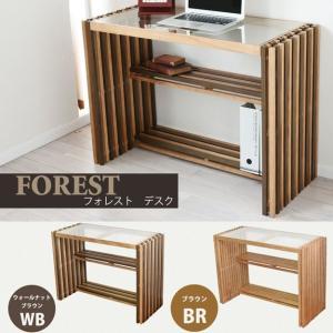 デスク FOREST 木製 書斎机 PCデスク パソコンデスク ガラス天板  FOD-100