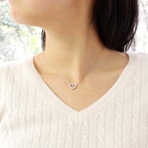 ネックレス K18WG 0.5ct ダイヤモンドオープンハートネックレス 受注生産|nkj-s