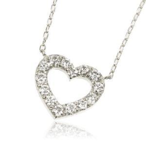 ネックレス K18WG 0.5ct ダイヤモンドオープンハートネックレス 受注生産|nkj-s|02