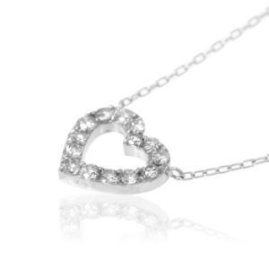 ネックレス K18WG 0.5ct ダイヤモンドオープンハートネックレス 受注生産|nkj-s|03