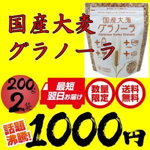 国産大麦グラノーラ 200g×2袋 ポッキリ1000円 セール 西田精麦 シリアル スーパー大麦 ネコポス 送料無料