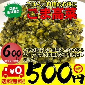 ポイント消化 500 お試し 食品 高菜 ごま高菜 600g 300g×2袋 送料無料 ご飯のお供 ネコポス