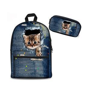 ThiKin 可愛いリュック 猫柄 花柄 子供用 ペンポーチ ペンケース 筆箱 デイパック かわいい...