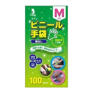 作業用手袋 ビニール手袋 粉なし M 100枚入 クイン|nns