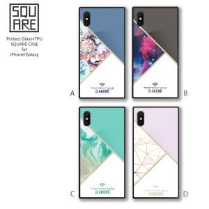 f1e539d6d5 iPhone XR 背面ガラス ケース iPhone X XS MAX iPhone 8 8Plus 7 7Plus galaxy S9 スマホケース  強化ガラス スクエア 宇宙柄 マーブル 大理石 diamond