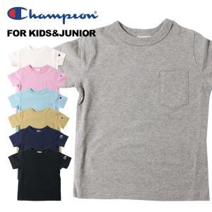 Champion チャンピオン Tシャツ 男の子 女の子 キッズ ジュニアCロゴ ポケットTシャツ(...