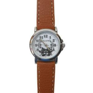 MKN009-4/【Field work/フィールドワーク】腕時計「ディズニーモノクロシルエット」(ミッキー&ミニー/ブラウン)/Disney/バンド/リスト/Watch noahs-ark