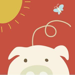 <<セール30%オフ>> 輸入雑貨 壁飾り 壁掛け ブタ 豚 蝶々 油絵風 カントリースタイル noainterior