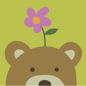 ≪セール30%オフ≫輸入雑貨 壁飾り くま クマ 熊 ピンクの花 油絵風 カントリースタイル noainterior