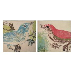 2枚セット/輸入/グラフィックアート/額絵/青い鳥と赤い鳥/鳥 noainterior
