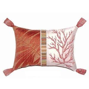≪セール50%オフ≫輸入雑貨 クッション トロピカル 珊瑚 ソファ用 中綿付き 赤|noainterior