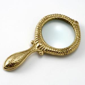 輸入雑貨 ルーペ 拡大鏡 手持ち ブラス色 真鍮|noainterior