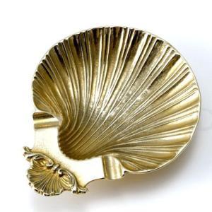 イタリア輸入雑貨 灰皿 シェル 貝殻 ブラス 真鍮仕上げ|noainterior