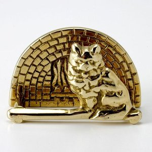 輸入雑貨 名刺立て ビジネスカード 猫 ブラス 真鍮仕上げ noainterior