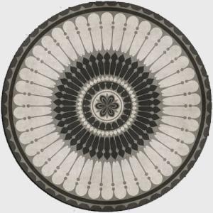 エリアラグ メダリオン ピルエット ブラック ホワイト 塩化ビニール製 直径183cm|noainterior