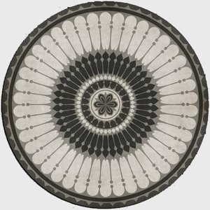 エリアラグ メダリオン ピルエット ブラック ホワイト 塩化ビニール製 直径244cm|noainterior
