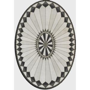 エリアラグ メダリオン チャールストン風 ブラック ホワイト 塩化ビニール製 楕円形 244x355cm|noainterior