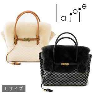 La joie ムートン金襴バッグ Lサイズ 日本製 レディース ハンドバッグ アイボリー・スレート|noble-collection