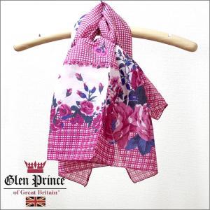 グレンプリンススカーフ(Glen Prince)コットンスカーフ 花柄 ピンク 正規販売店/ギフト対応/春夏|noble-collection