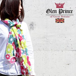 Glen Prince  ストール ポップで可愛らしい色合いの花柄がキュートな清涼感たっぷりリネンモダールガーゼストール 正規販売店/ギフト対応|noble-collection