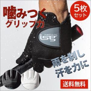 5枚セット ゴルフグローブ 手袋 片手  インスパイラルグローブ 左手 右手 イオンスポーツ フィット感抜群 isg|noblegolf