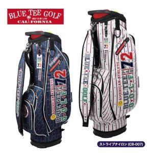キャディバッグ ストライプナイロン 軽量 ブルーティーゴルフ ゴルフバッグ 6分割 9インチ CB-007|noblegolf