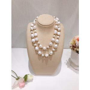 淡水パール 大粒 バロック 無核 ネックレス ホワイト 真珠 白 おしゃれ 贈り物 プレゼント|noblesse-oblige1