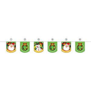 ユニークカット6連ペナント メリークリスマス リース No.26271 (受注生産)|noboristore