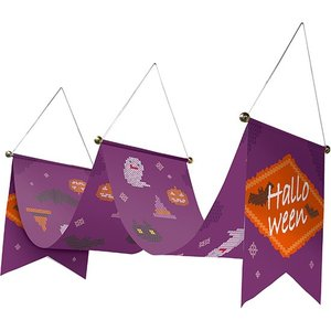 ウェーブペナント Halloween クロスステッチ紫 No.40128 (受注生産) noboristore