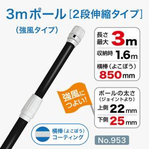 3m強風ポール/黒/φ25mm/横棒850mmコーティング No.953 noboristore