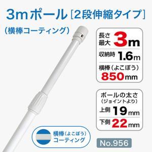 3mコーティング加工ポール/白/φ22mm/横棒850mmコーティング No.956 noboristore