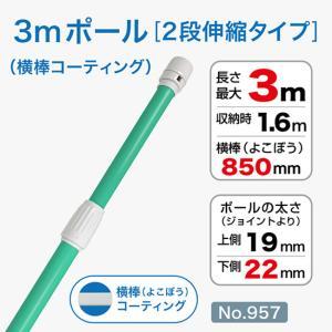 3mコーティング加工ポール/緑/φ22mm/横棒850mmコーティング No.957 noboristore