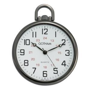 Gotham メンズ ガンメタル 超薄型 鉄道 オープンフェースクォーツ式 懐中時計 # GWC15026B|nobuaki-shop