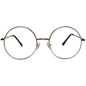 丸型めがね 大きめ 小顔効果 丸メガネ 丸眼鏡 伊達メガネレンズ UVカット機能復古デザイン ノーズパッド ファッション クラッシク35284 (ゴー nobuaki-shop