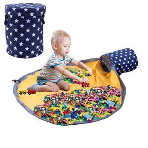 let's make おもちゃ 収納バッグ プレイマット 折り畳み 収納マット 収納袋 パズル 玩具 ブロック片づけ ランドリー収納 出産祝い 誕生日|nobuaki-shop
