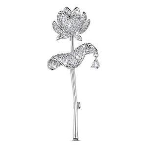 ブローチ SHEGRACE AAAジルコン プラチナ 蓮 ブローチ 蓮の花 レディース メンズ ブローチ 65×25mm nobuaki-shop