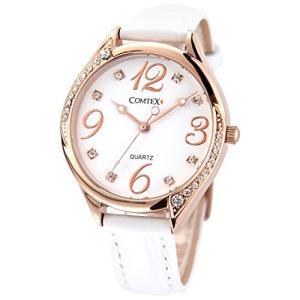 Comtex 腕時計 ホワイト皮革 バンド ウォッチ ローズゴールド 可愛い 丸い 時計 レディース|nobuaki-shop