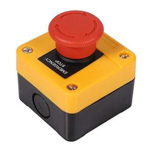 xuuyuu 緊急スイッチ プッシュボタンスイッチ 押しボタンスイッチ 非常停止用 プラスチック製 レッド シェル標識 赤サイン キノコ型ボタン AC|nobuaki-shop